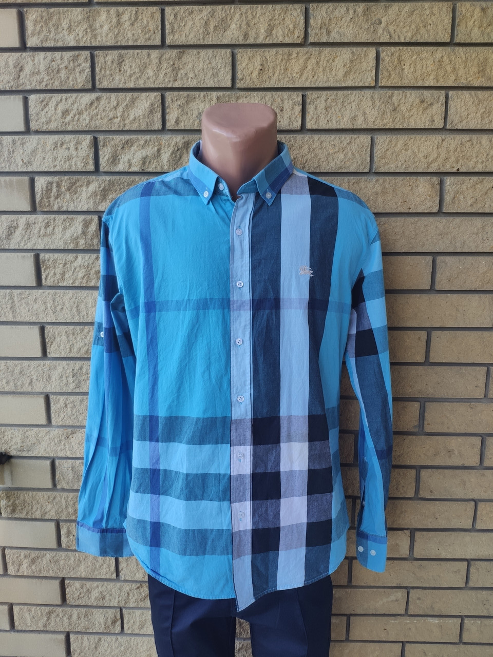 Рубашка мужская коттоновая брендовая высокого качества реплика BURBERRY, Турция