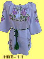 Вишиванка блузка біла з ліліями.
