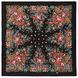 Мой садик 1878-18, павлопосадский платок шерстяной  с осыпкой (оверлоком)