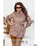 Стильная женская куртка из эко-кожи с карманами и поясом размер 48-50,52-54,56-58, фото 2