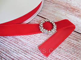 Лента бархатная, 2 см, цвет красный, 1 м.