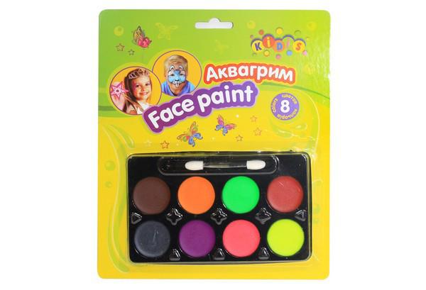 Аквагрим для обличчя на Хелловін, 8 кольорів, грим, Набор красок для лица на хэллоуин