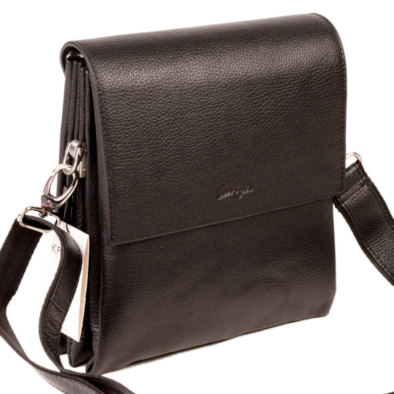 Мужская сумка Karya 0542-45 кожаная черная с плечевым ремнем