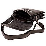 Мужская сумка Karya 0542-45 кожаная черная с плечевым ремнем, фото 5