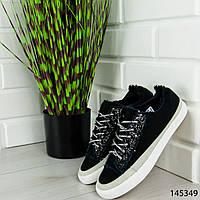 """Кроссовки женские, черные """"Kotena"""" текстильные, сникерсы женские, мокасины женские, повседневная обувь, фото 1"""