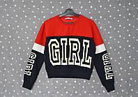"""Укороченный свитшот """"Girl"""" - Красный/синий - 46, 48 размеры"""