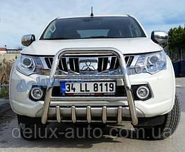 Защита переднего бампера кенгурятник высокий на Митсубиси л200 2019+ Кенгур передний высокий Mitsubishi L200