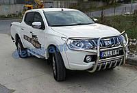 Защита переднего бампера кенгурятник высокий с защитой фар на Митсубиси л200 2019+ Кенгур с защитой картера