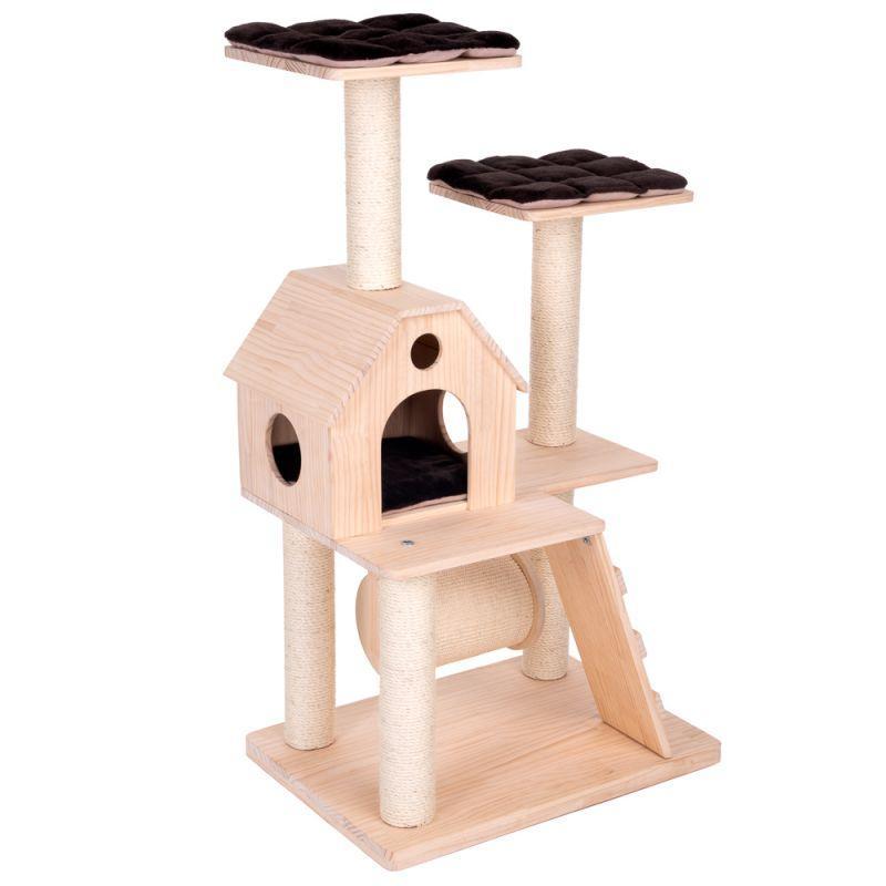 Игровой комплекс для котов Wooden castle S с домиком для кошки и когтеточкой