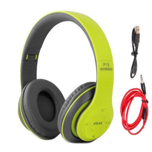 Наушники беспроводные Bluetooth гарнитура P15 MicroSD FM, зеленые