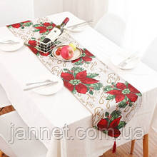Новорічний Декор скатертину - раннер в новорічний квітка - розмір 160*33см, 50% поліестер, 50% coton