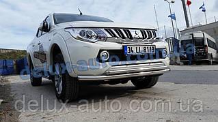 Защита переднего бампера труба двойная Mitsubishi L200 2019+ Дуга двойная цвет никель для Митсубиси л200 2019+