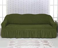 Чехол на диван Venera 04-222 Зелёный (3-х мест.) с оборкой