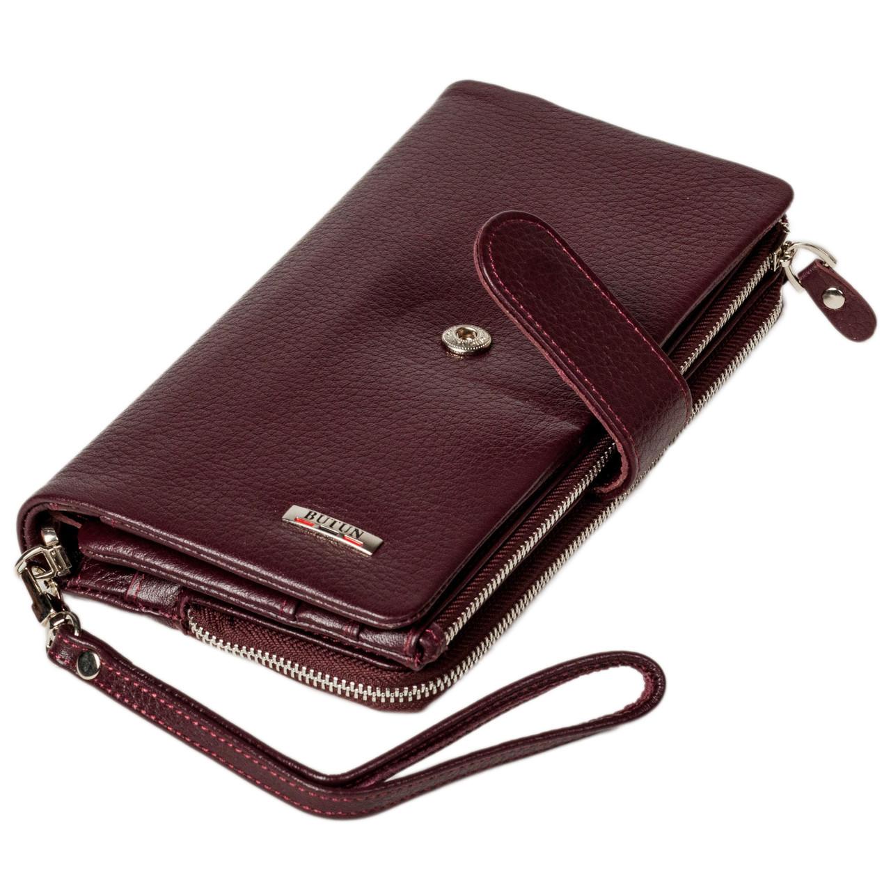 Женский клатч кожаный бордовый BUTUN 022-004-002