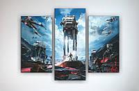 Картина модульная в интерьер подростка Звездные войны Star Wars 90х60 из 3х частей