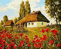 Картина по номерам без коробки. Домик в деревне, 40*50 см.
