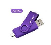 Флешка 32 гб USB, micro USB Flash drive 32 Gb фиолетовая