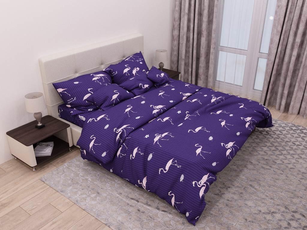 """Семейный комплект постельного белья ТМ """"Ловец снов"""", Фламинго фиолет"""
