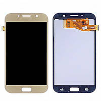 Дисплей для SAMSUNG A720 Galaxy A7 (2017) с золотистым тачскрином, с регулируемой подсветкой