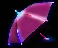 Светящийся детский зонтик трость с фонариком для детей Голубой Розовый Зонтик с Led подсветкой
