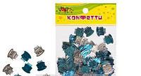 Декоративні тортики, що блищать №4 мм, 10гр блакитний+срібло Kidis 4шт в упак. // (8873)