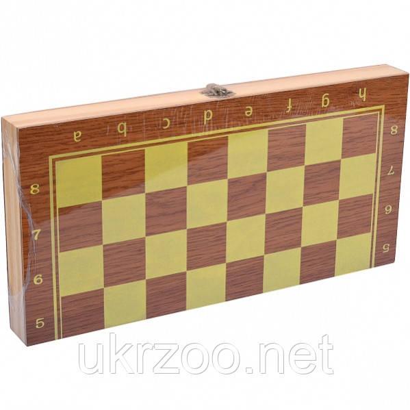 Шахматы + нарды + шашки из натурального дерева. Размер 25х15х5см