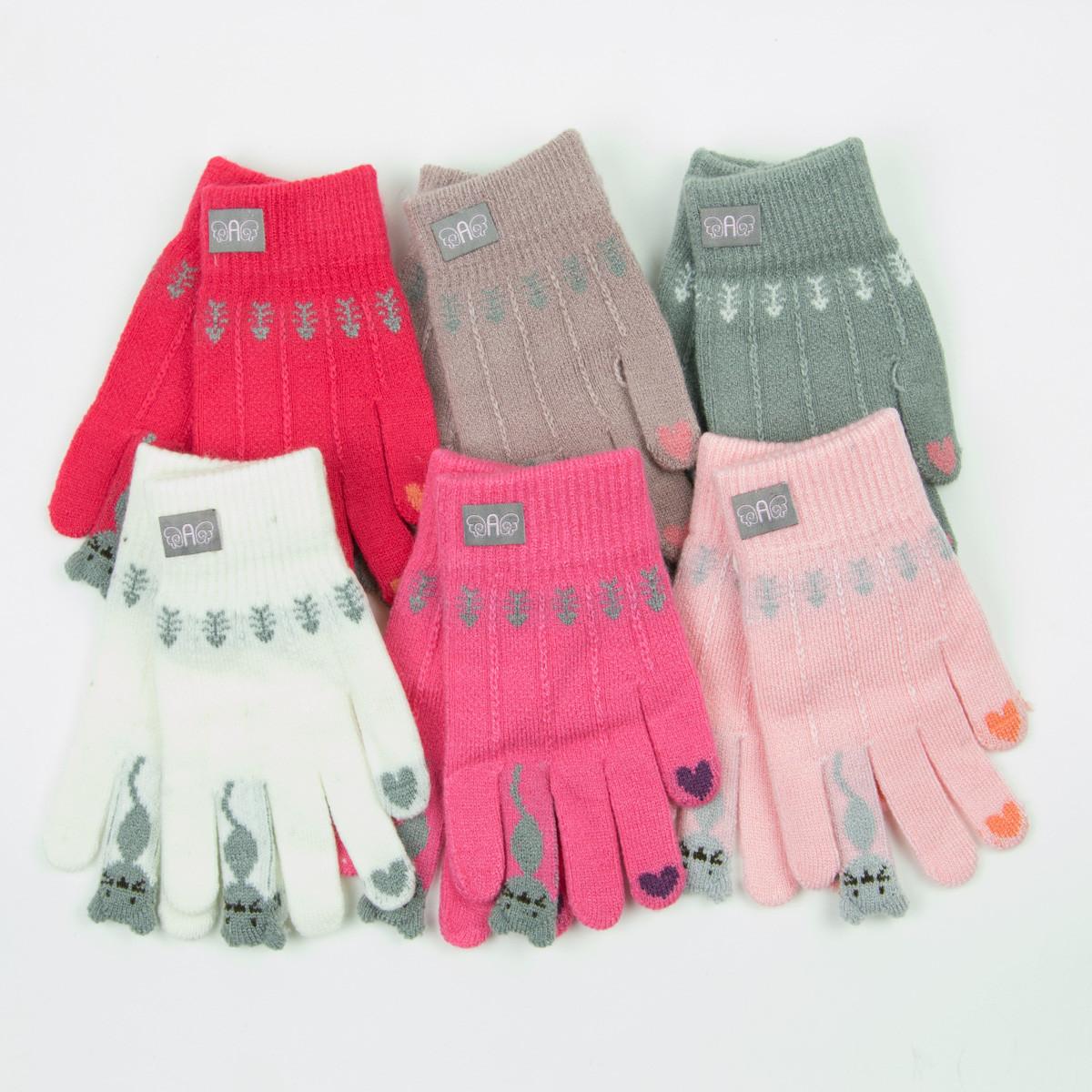 Оптом демисезонные перчатки на девочек 5-7 лет - 19-7-49