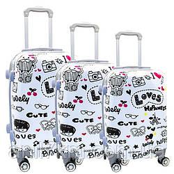 Комплект пластиковых чемоданов 3-ка.на четырёх колёсах поликарбонат