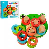 Деревянная игрушка геометрика лягушка