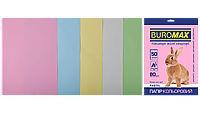Бумага А4 цветная PASTEL 5цветов, 50л, 80г/м2