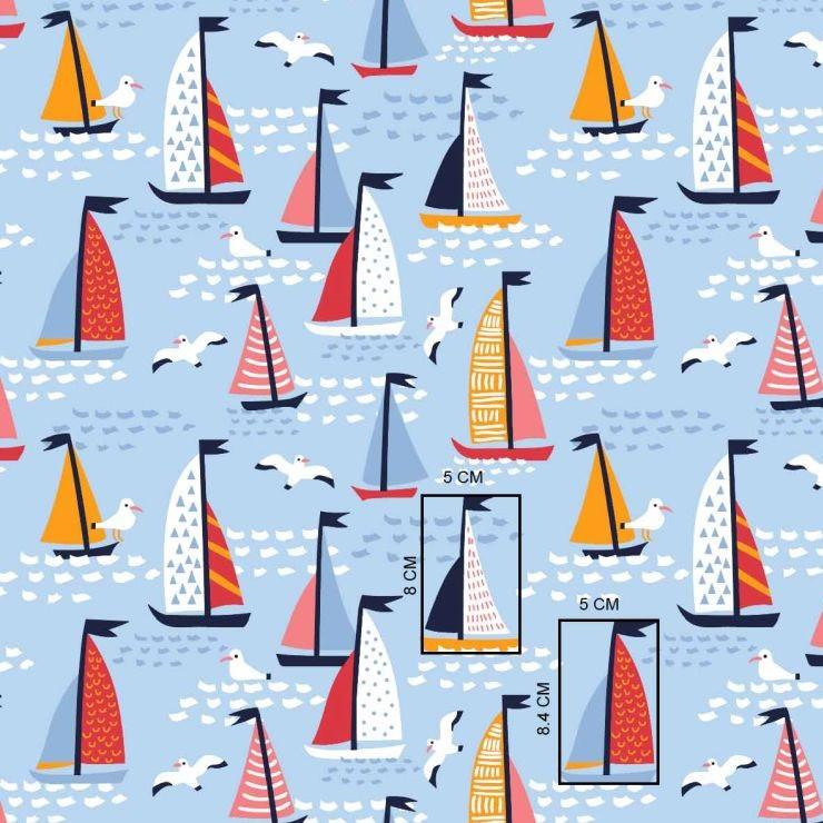 ✁ Отрезы Хлопковой ткани  Кораблики на голубом