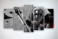 Картина на стену в интерьер для мальчика Звездные войны Star Wars 125х70 из 5 частей