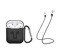 Чехол Airpods Silicon case with carbine+straps black (in box), фото 1