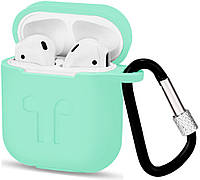 Чехол Airpods Silicon case with carbine+straps mint (in box)
