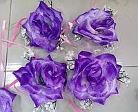 Цветы на ручки свадебного авто (фиолетовая роза) 4 шт.