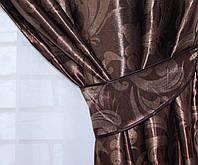 "Двусторонняя ткань блэкаут ""Лилия"". Высота 2,8м. Цвет коричневый. 391ш"