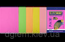 Папір А4 кольорова NEON 5цветов, 50л, 80г/м2