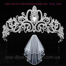 Свадебная диадема под серебро, высота 5 см.