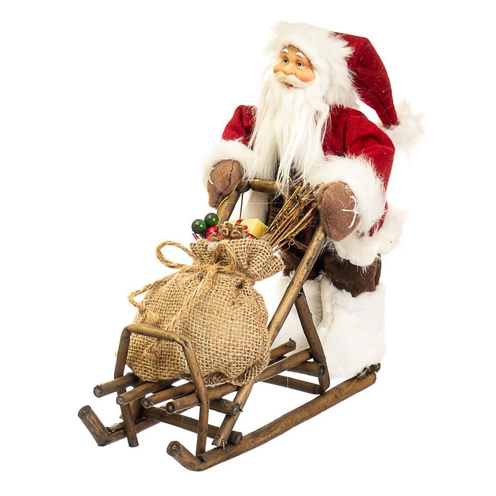 Фигурка новогодняя Санта с санями 34х30 см Uniсorn Studio 500033NC статуэтка Дед Мороз фигура