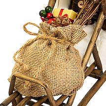 Фигурка новогодняя Санта с санями 34х30 см Uniсorn Studio 500033NC статуэтка Дед Мороз фигура, фото 3