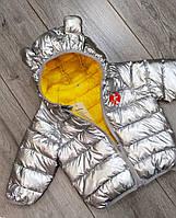 Детская демисезонная куртка с капюшоном унисекс  Размер 80,110,120 . Цвет серебро