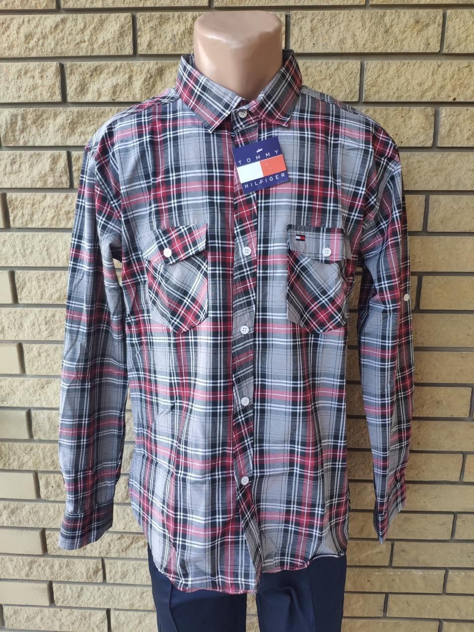 Рубашка мужская коттоновая брендовая высокого качества  реплика TOMMY HILFIGER, Турция