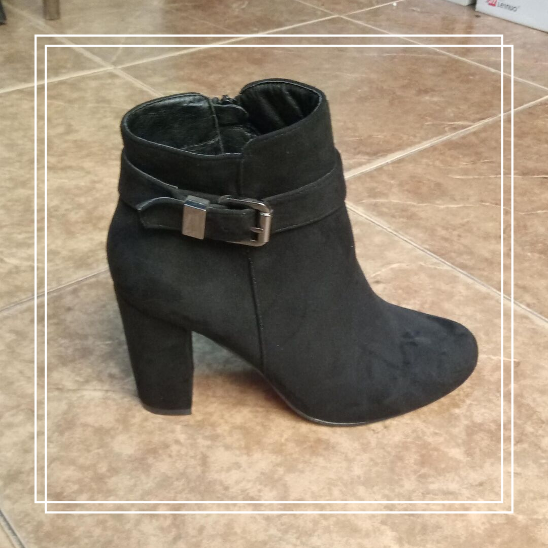 Женские демисезонные ботинки Anannon  черная замша пряжка 209, 40
