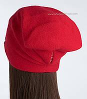 Вязаная шапка с защипом Барбара цвет алый