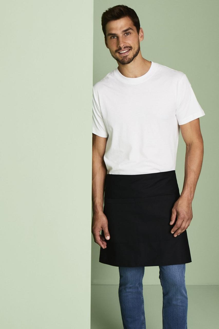 Фартук для официанта короткий 50 см черный с карманами Atteks - 00109