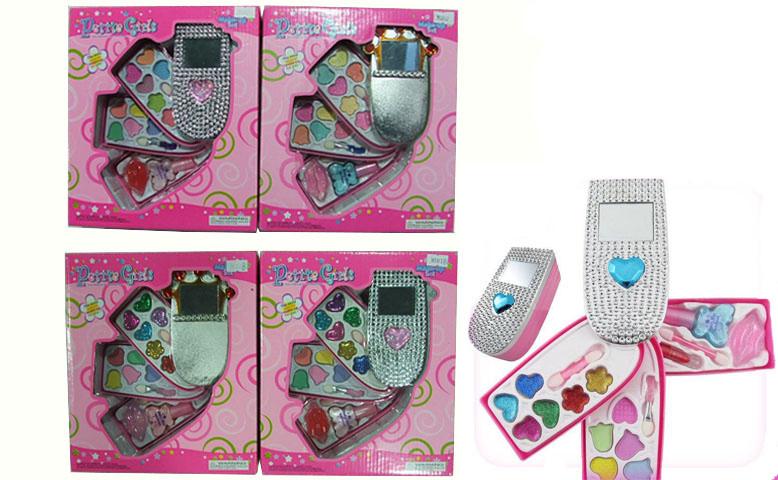 "Косметика ""Телефон"" 4 вида, 3 яруса, помада, блестки, тени, лак, кисточки, 30312/30312B"