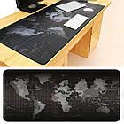 Коврик для мыши большой Black map / Карта мира mousepad 300/800/3mm Геймерский коврик для мыши, фото 5