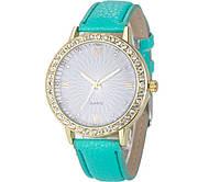 Наручные женские часы c зеленым ремешком код 202