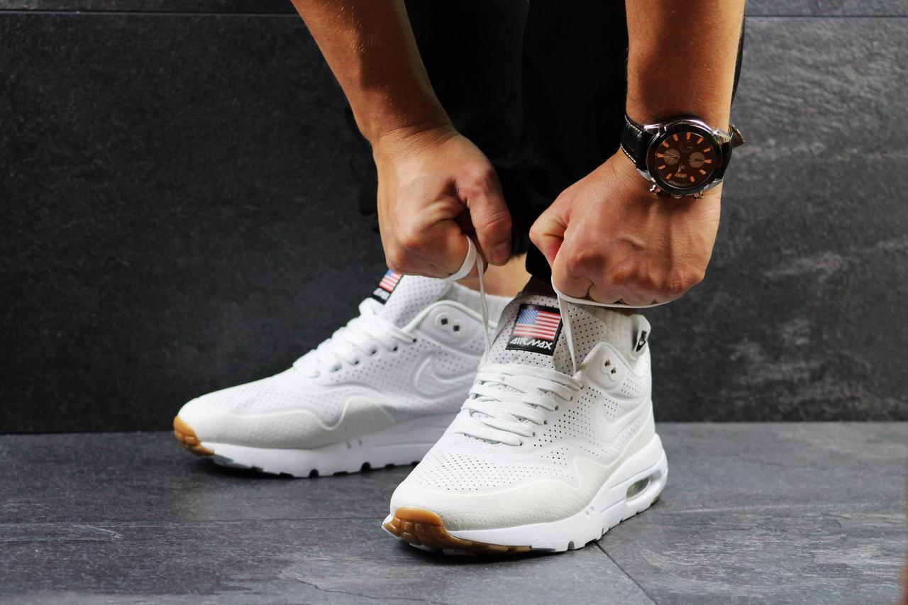 Кроссовки мужские    Nike Air Max 1 Ultra Moire белые люминесцентные (ночью светятся)