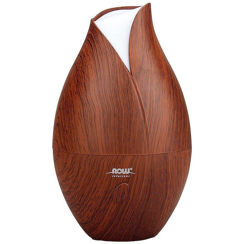 """Ультразвуковий дифузор NOW Foods """"Ultrasonic Faux Wood GrainOil Diffuser"""" для масел, корпус під дерево (1 шт)"""